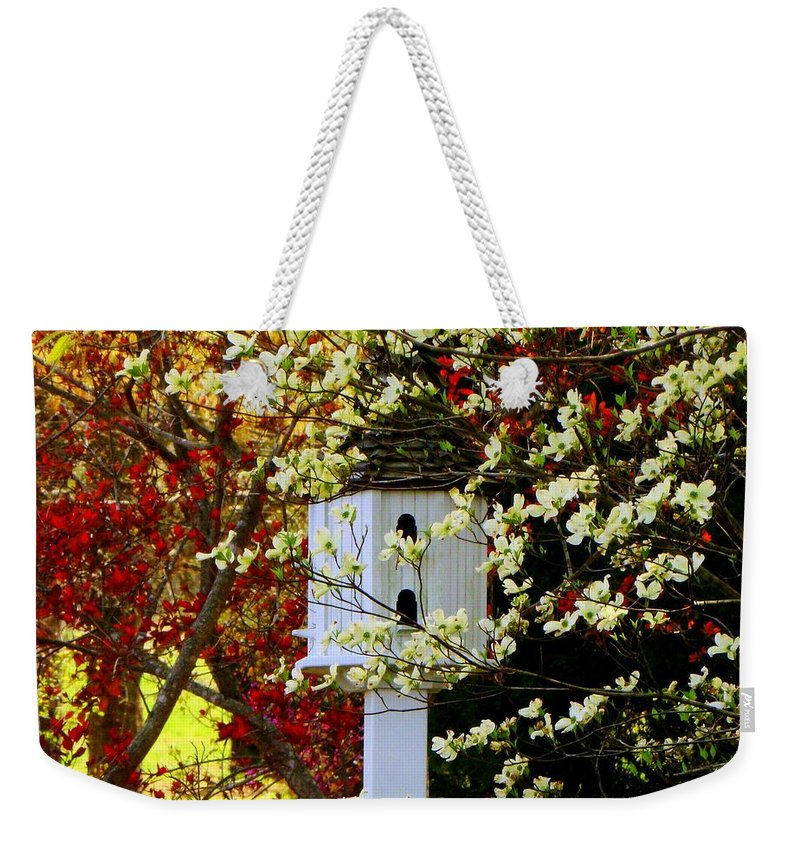Spring Weekender Tote Bag featuring the photograph Hidden Bird House by Rodney Lee Williams