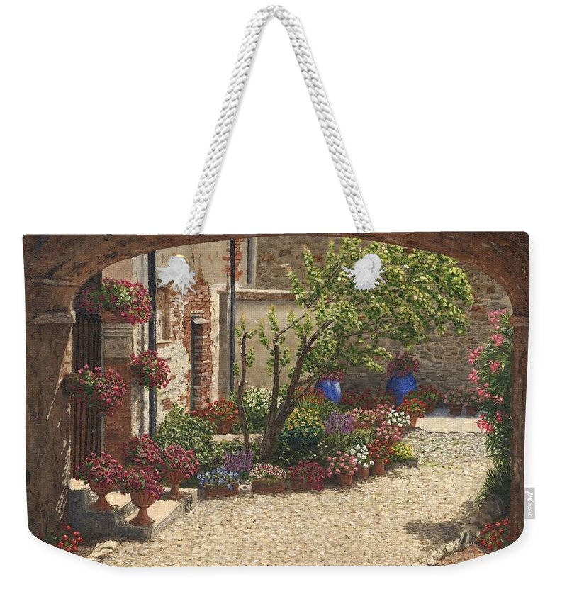 Landscape Weekender Tote Bag featuring the painting Hidden Garden Villa Di Camigliano Tuscany by Richard Harpum