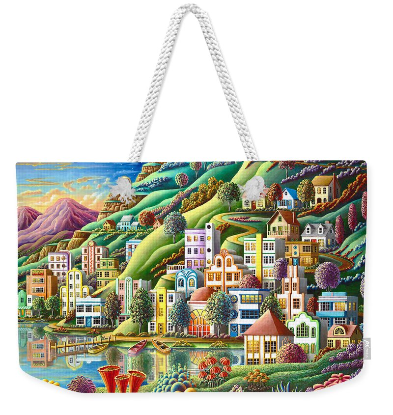 Painting Weekender Tote Bag featuring the painting Hidden Harbor by MGL Meiklejohn Graphics Licensing
