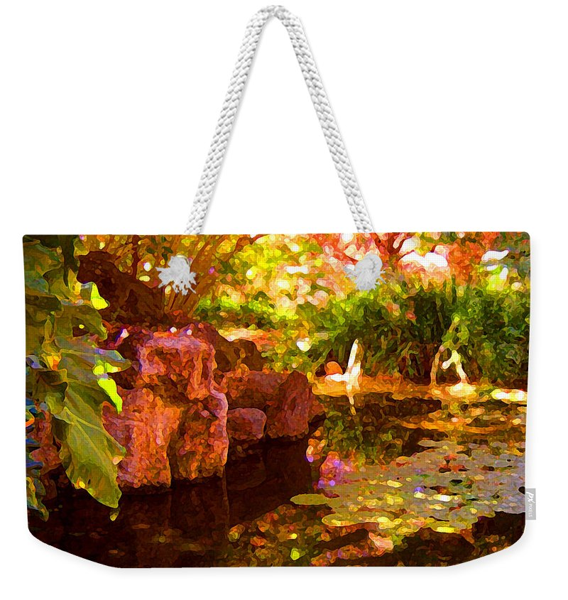 Water Landscape Weekender Tote Bag featuring the painting Hidden Pond by Amy Vangsgard