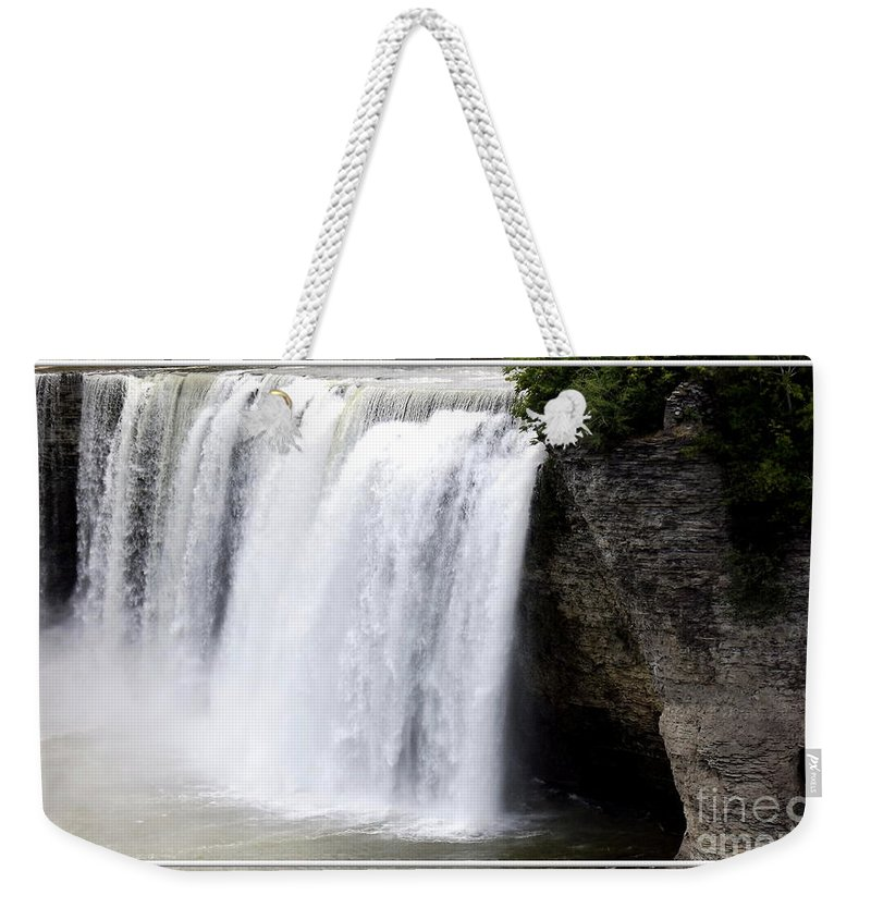 High Falls Weekender Tote Bag featuring the photograph High Falls In Rochester New York by Rose Santuci-Sofranko