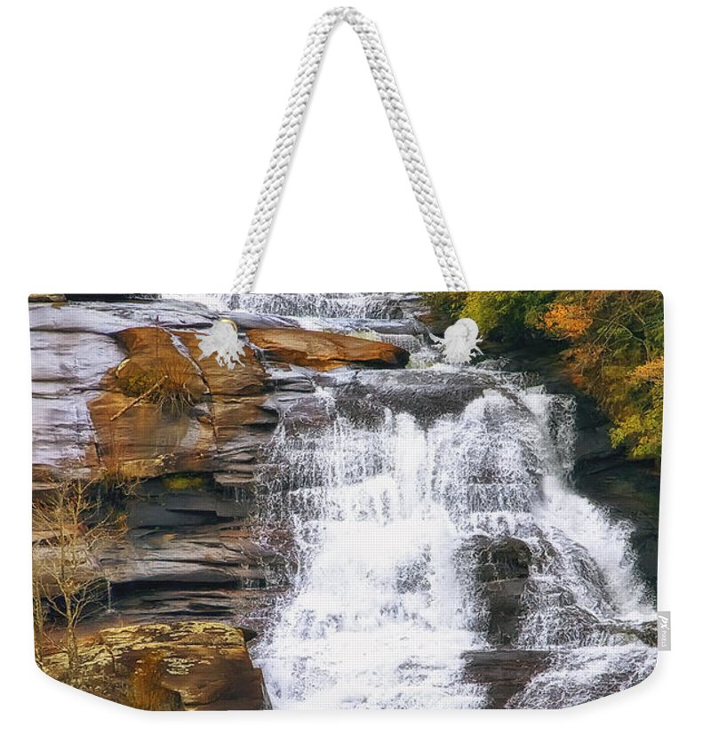 Water Weekender Tote Bag featuring the photograph High Falls by Scott Norris