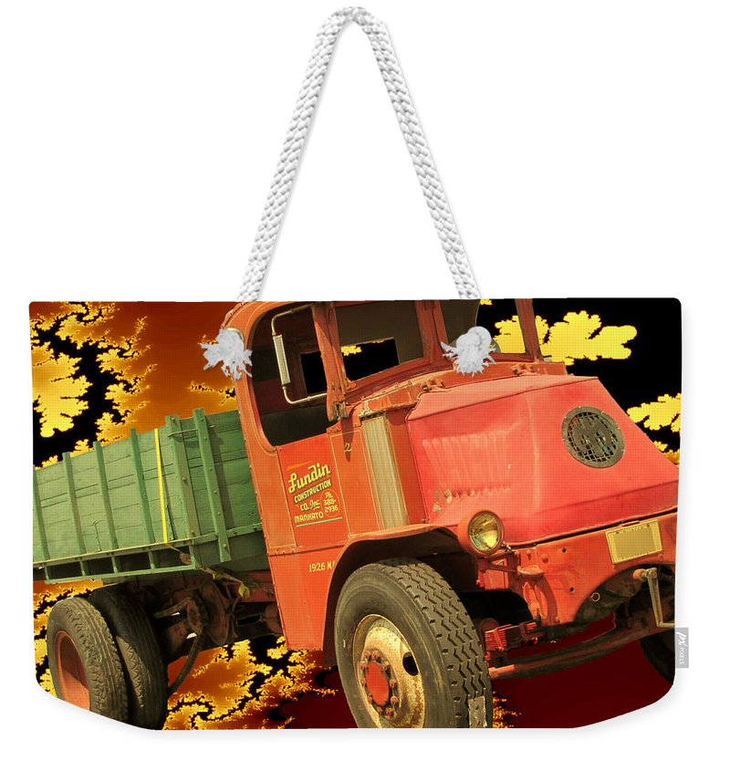Vintage Weekender Tote Bag featuring the digital art High Flying Mack by Tristan Armstrong