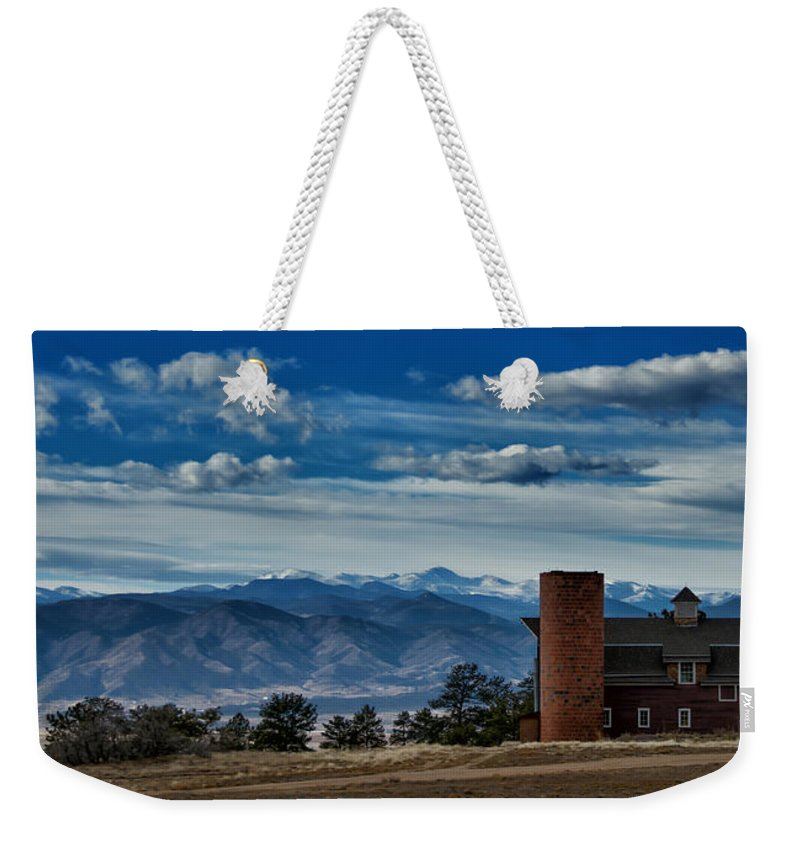 Red Weekender Tote Bag featuring the photograph High Mountain Barn by Bob Keller