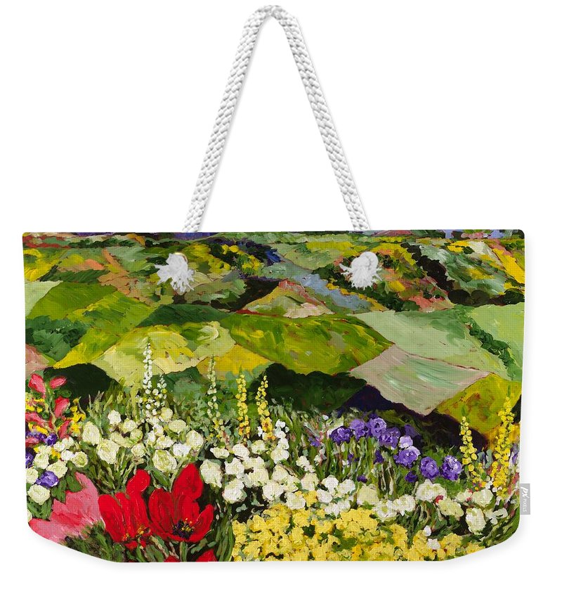 Landscape Weekender Tote Bag featuring the painting High Mountain Patch by Allan P Friedlander