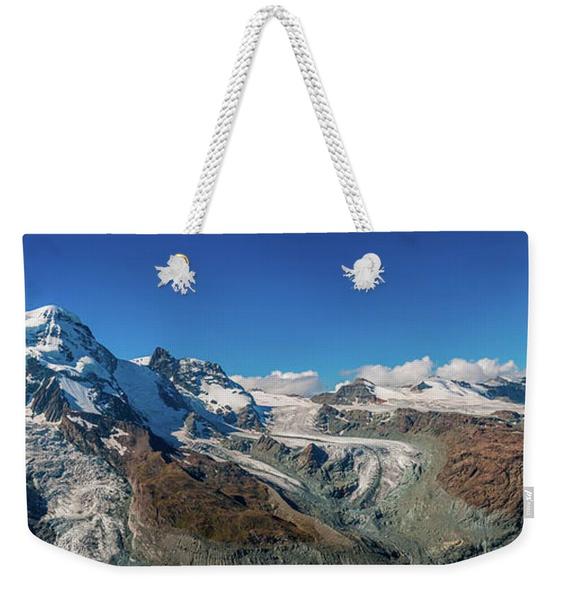 Pennine Alps Weekender Tote Bag featuring the photograph High Mountains Of Pennine Alps In by Alpamayophoto