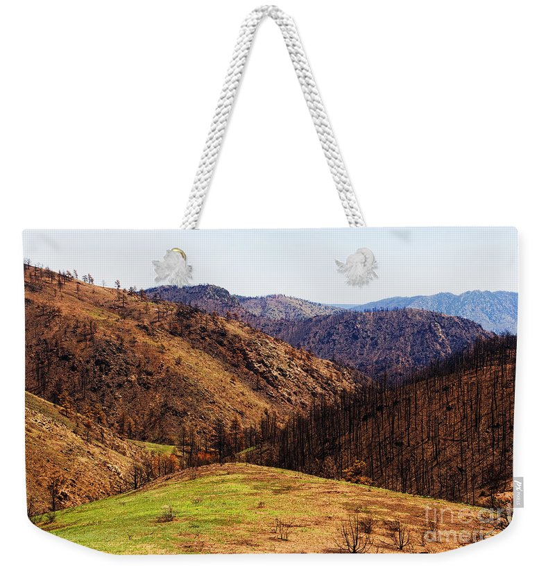 High Park Fire Weekender Tote Bag featuring the photograph High Park Fire Burn by Jon Burch Photography