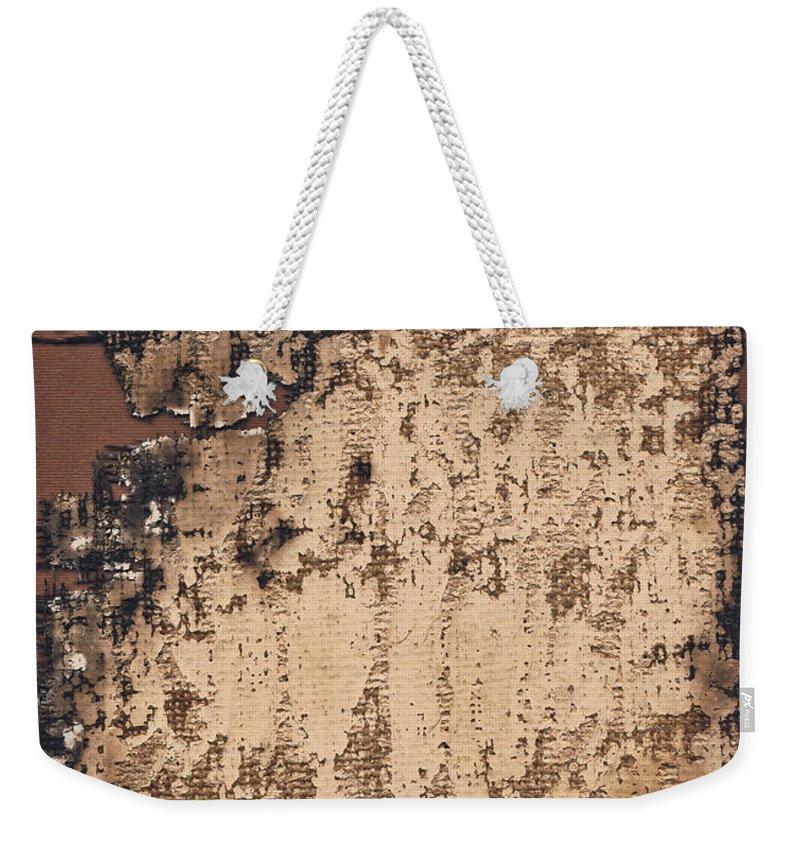 Burnt Weekender Tote Bag featuring the photograph High Resolution Burnt Primed Burlap by Miroslav Boskov