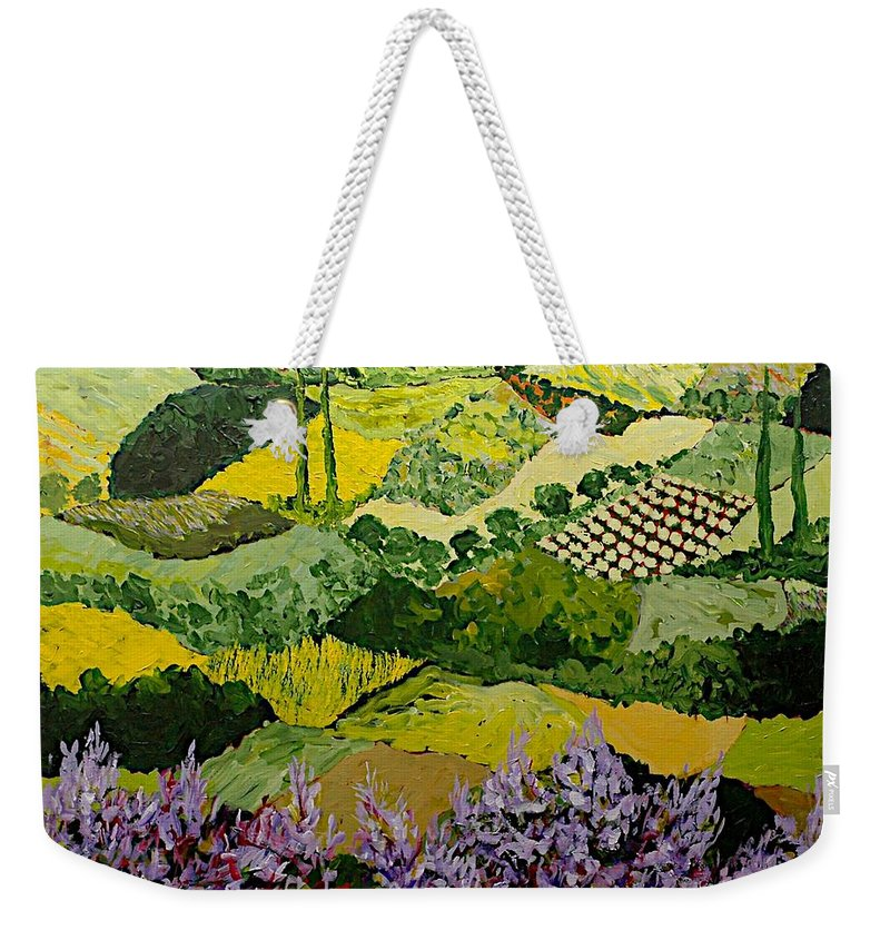 Landscape Weekender Tote Bag featuring the painting High Ridge by Allan P Friedlander