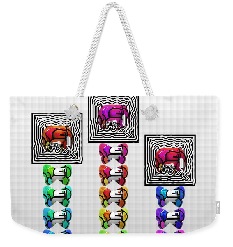 Elephant Weekender Tote Bag featuring the painting High Society by Charles Stuart