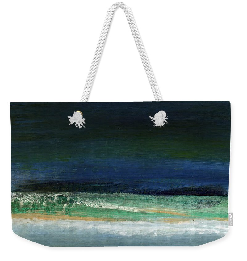 Ocean Weekender Tote Bag featuring the painting High Tide- Abstract Beachscape Painting by Linda Woods