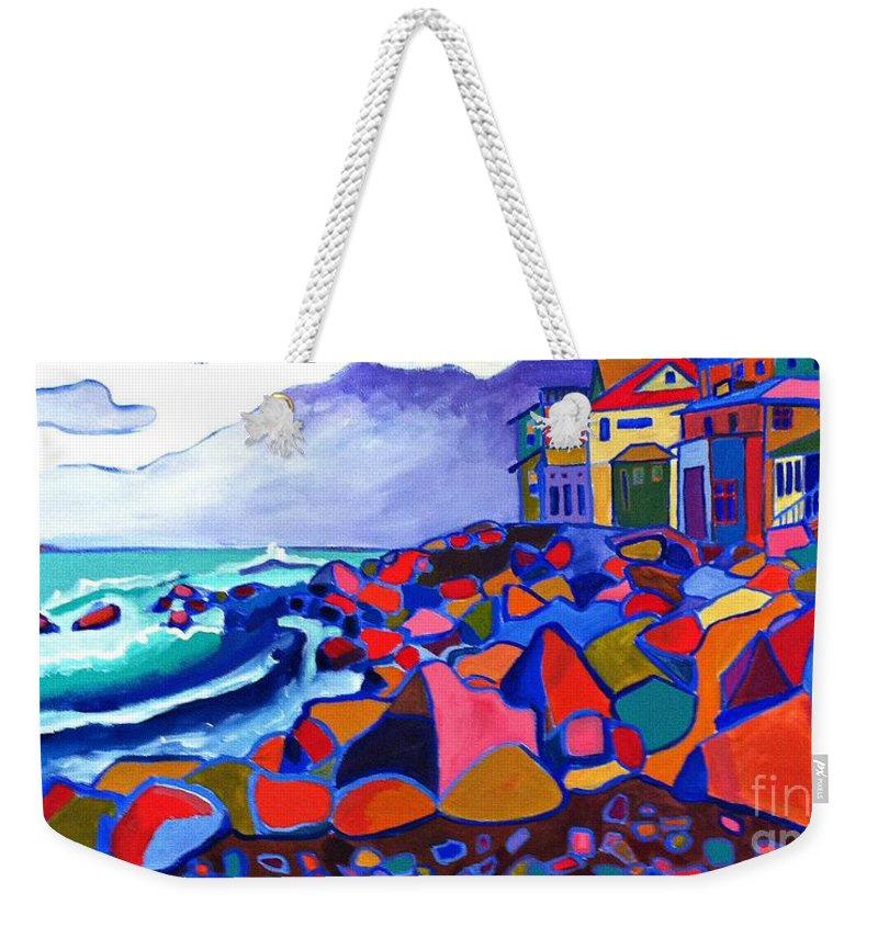 Landscape Weekender Tote Bag featuring the painting High Tide Boars Head Nh by Debra Bretton Robinson