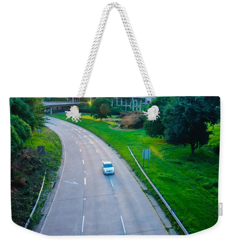 Abstract Weekender Tote Bag featuring the photograph Highway Traffic Near A Big City by Alex Grichenko