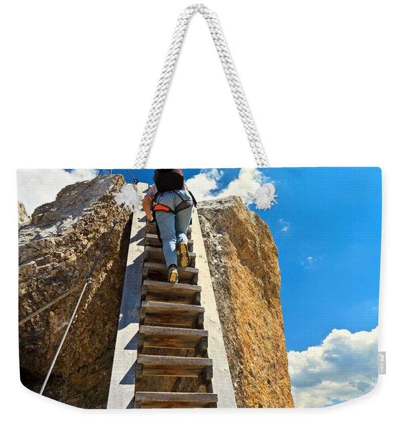 Alps Weekender Tote Bag featuring the photograph Hiker On Wooden Staircase by Antonio Scarpi