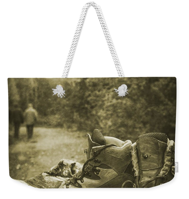 Hiking Weekender Tote Bag featuring the photograph Hiking Boots by Amanda Elwell