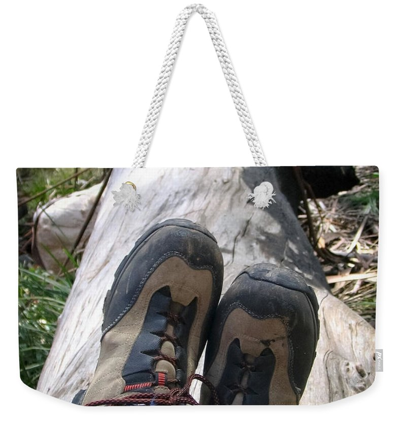 Action Weekender Tote Bag featuring the photograph Hiking Boots by Tim Hester