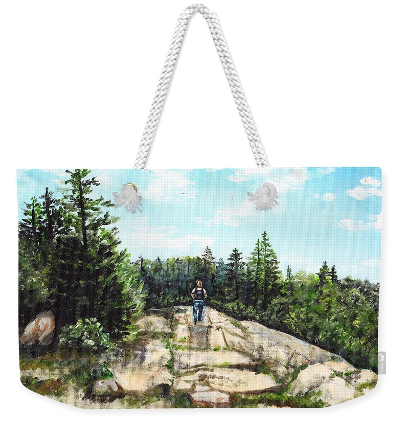 Acadia Weekender Tote Bag featuring the painting Hiking In Maine by Shana Rowe Jackson