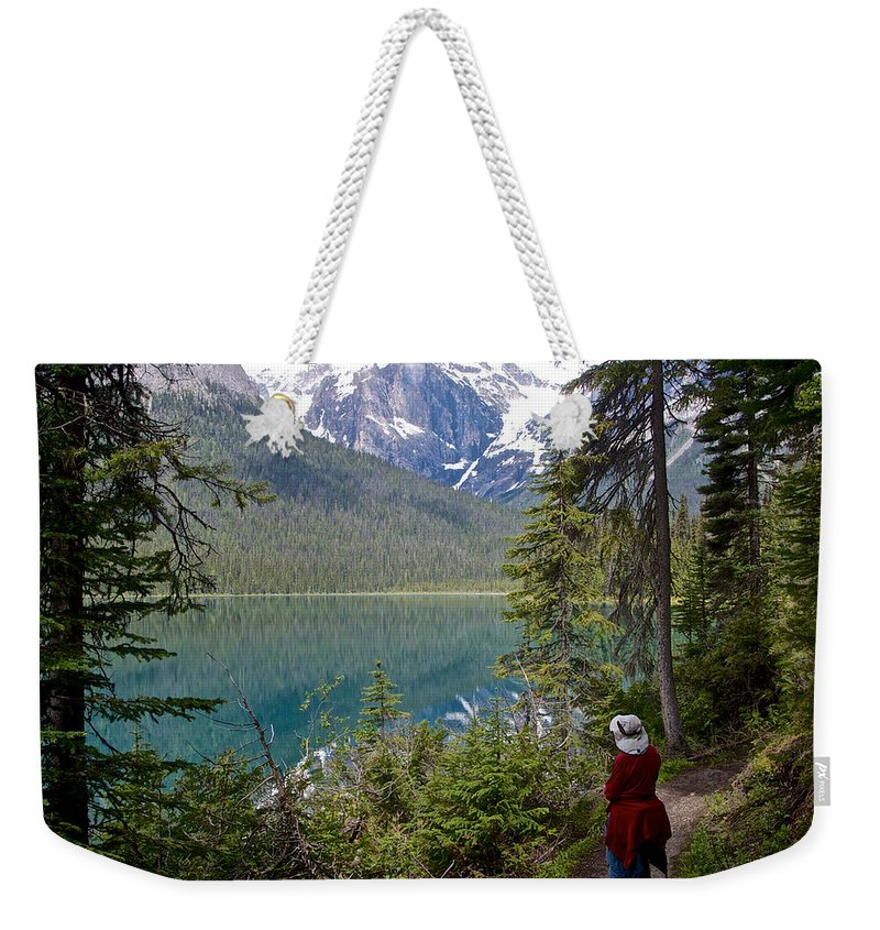 Hiking On Emerald Lake Trail In Yoho Np Weekender Tote Bag featuring the photograph Hiking On Emerald Lake Trail In Yoho Np-bc by Ruth Hager