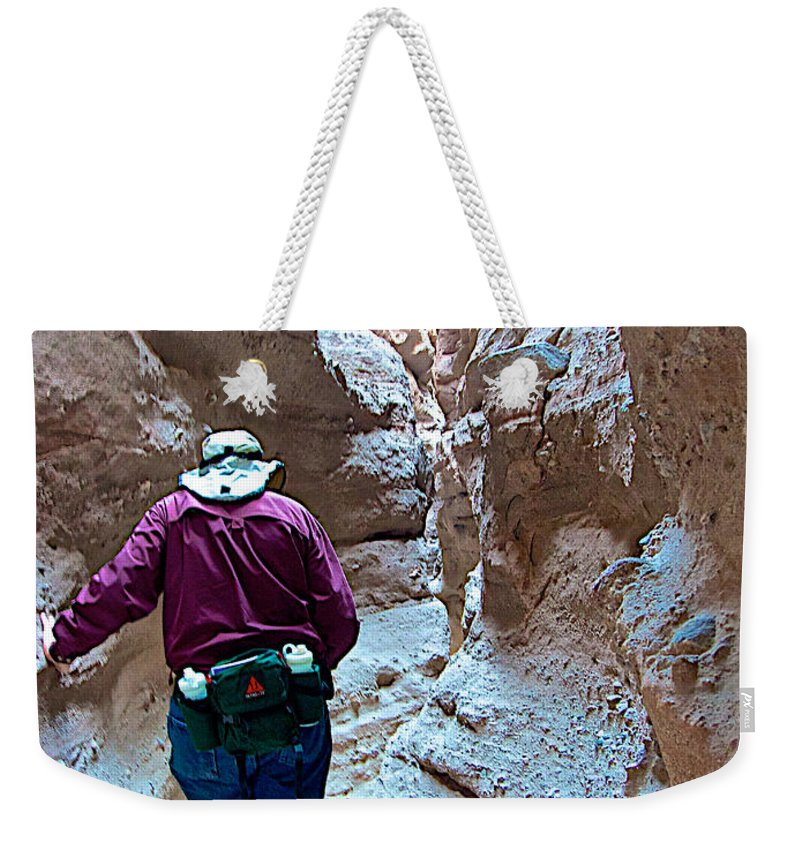 Hiking Through Narrow Slot Of Ladder Canyon Trail In Mecca Hills Weekender Tote Bag featuring the photograph Hiking Through Narrow Slot Of Ladder Canyon Trail In Mecca Hills-ca by Ruth Hager