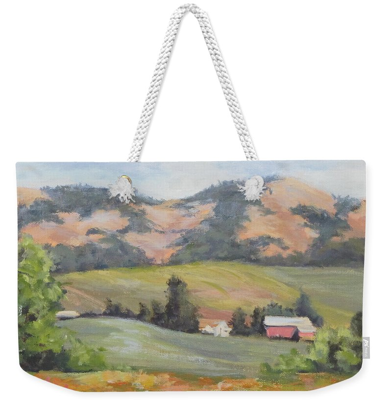Farm Weekender Tote Bag featuring the painting Hillside Farm by Karen Ilari
