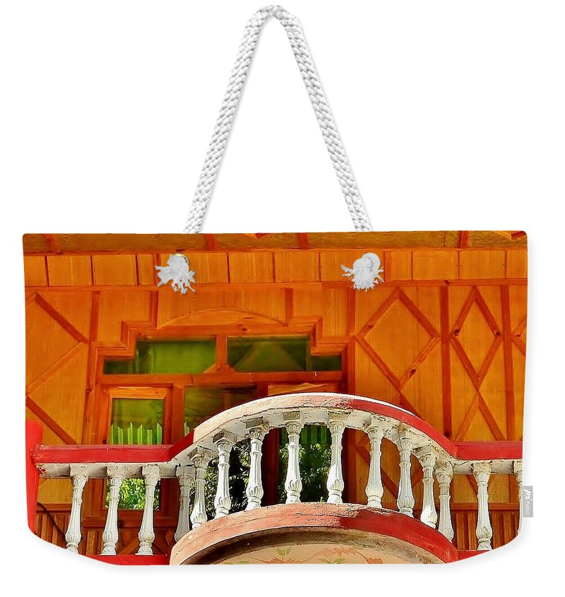 Balcony Weekender Tote Bag featuring the photograph A Beautiful Balcony - Himalaya India by Kim Bemis