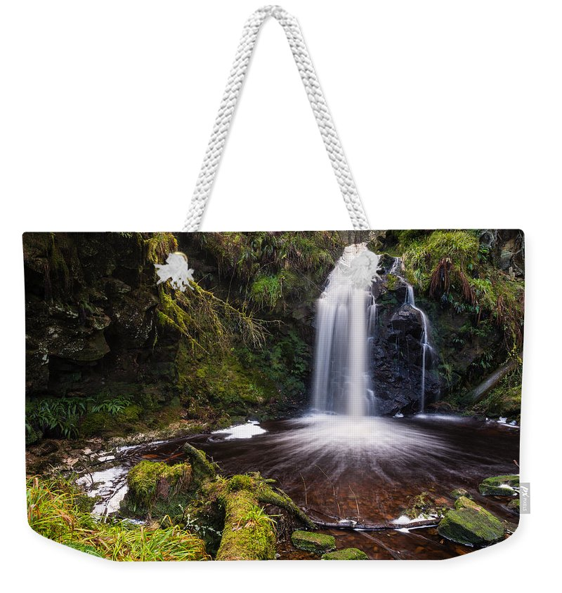 Northumberland Weekender Tote Bag featuring the photograph Hindhope Waterfall by David Head