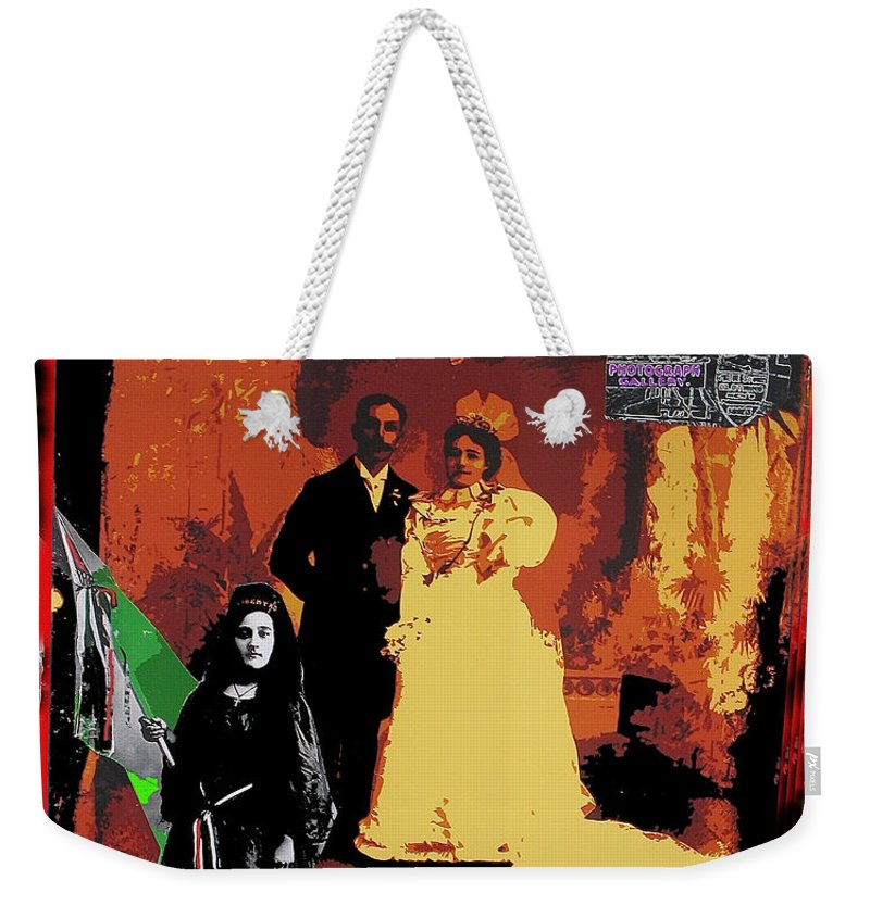 Hispanic Wedding Libertad Lady Photo Gallery Collage 1880 Color Added Weekender Tote Bag featuring the photograph Hispanic Wedding Libertad Lady Photo Gallery Collage 1880-2010 by David Lee Guss