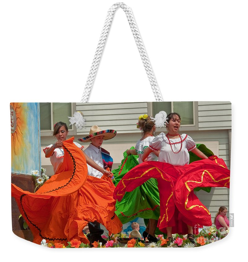 Berry Dairy Days Weekender Tote Bag featuring the photograph Hispanic Women Dancing In Colorful Skirts Art Prints by Valerie Garner