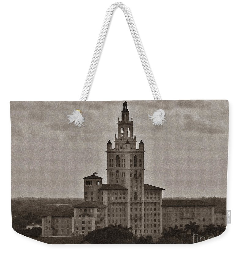 Miami Weekender Tote Bag featuring the photograph Historic Biltmore Hotel by Keri West