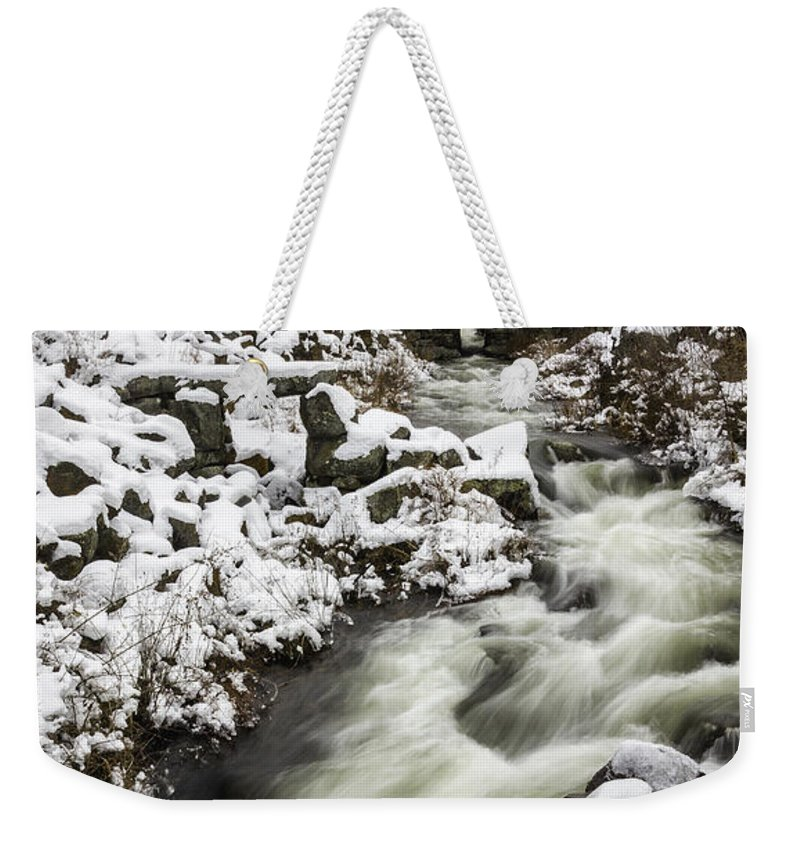 Nh Weekender Tote Bag featuring the photograph Historic Harrisville Nh In Winter by Betty Denise