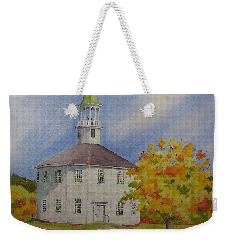Richmond Weekender Tote Bag featuring the painting Historic Richmond Round Church by Mary Ellen Mueller Legault