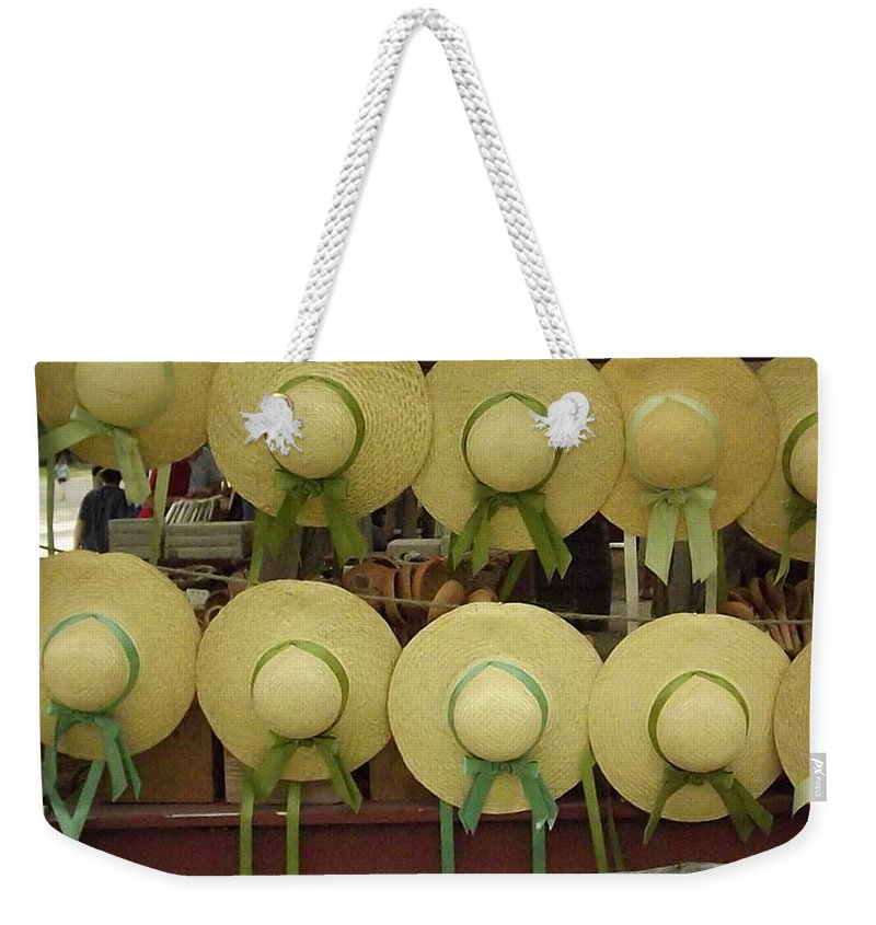 Sunhat Weekender Tote Bag featuring the digital art Historic Shademakers by Barkley Simpson