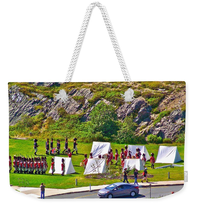 Historical Reenactment Near Visitor's Center In Signal Hill National Historic Site In Saint John's Weekender Tote Bag featuring the photograph Historical Reenactment Near Visitor's Center In Signal Hill National Historic Site In St. John's-nl by Ruth Hager