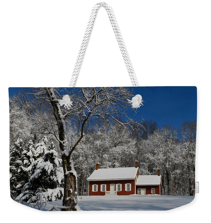 Historical Society House In The Snow Weekender Tote Bag featuring the photograph Historical Society House In The Snow by Raymond Salani III