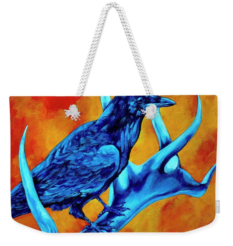 Elk Weekender Tote Bag featuring the painting Hitchhiker by Derrick Higgins