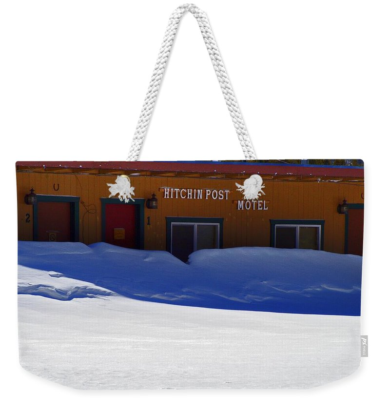 Altitude10k Photography Weekender Tote Bag featuring the photograph Hitchin' Post March by Jeremy Rhoades