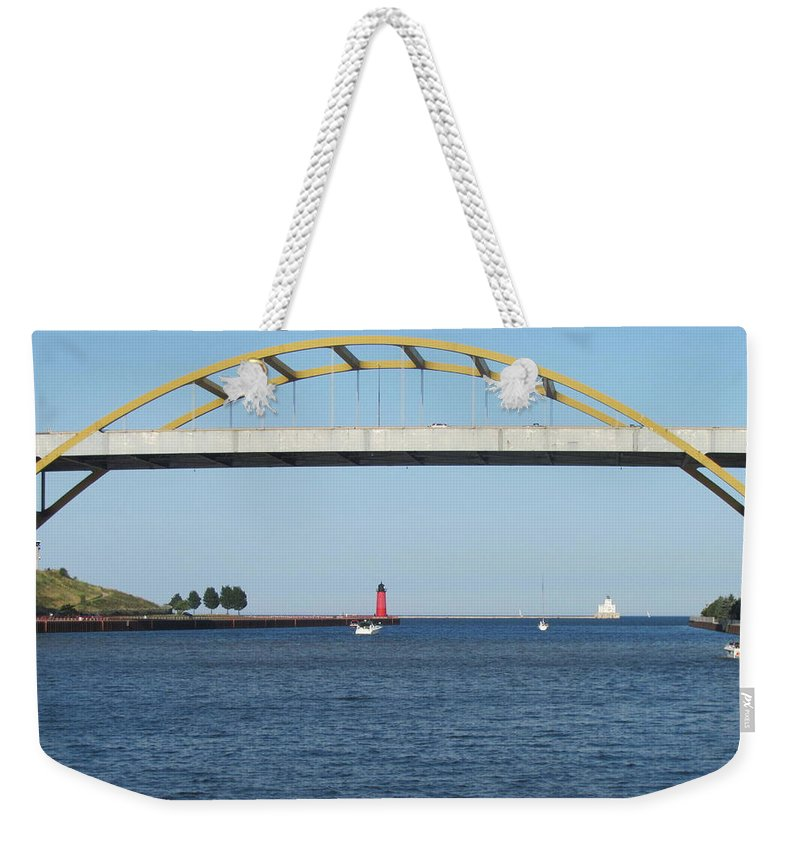 Hoan Bridge Weekender Tote Bag featuring the photograph Hoan Bridge Boats Light House 2 by Anita Burgermeister