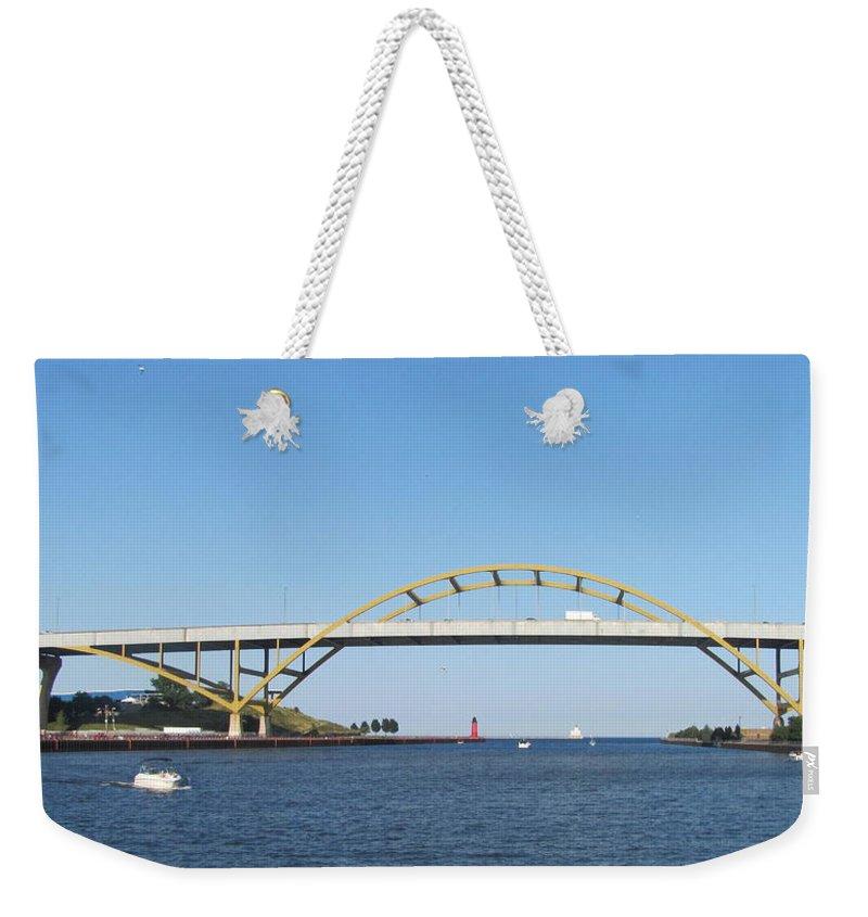 Hoan Bridge Weekender Tote Bag featuring the photograph Hoan Bridge Boats Light House 4 by Anita Burgermeister