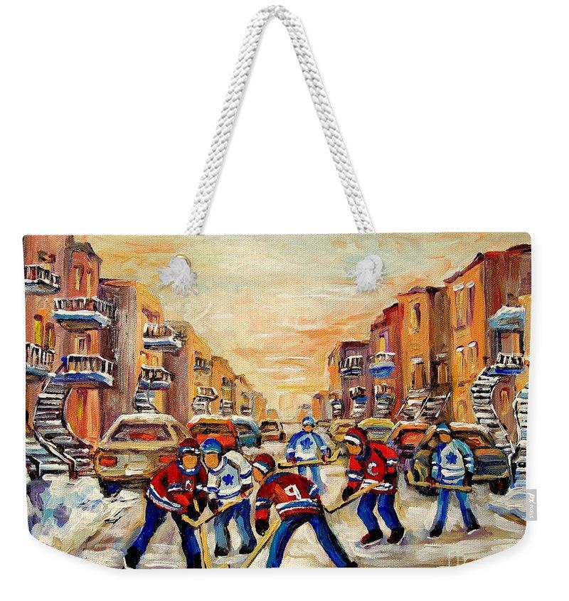 Hockey Daze Weekender Tote Bag featuring the painting Hockey Daze by Carole Spandau