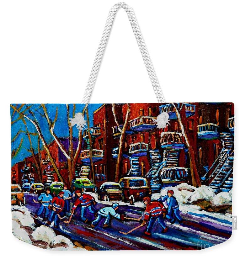 Hockey On De Bullion Weekender Tote Bag featuring the painting Hockey On De Bullion Montreal by Carole Spandau
