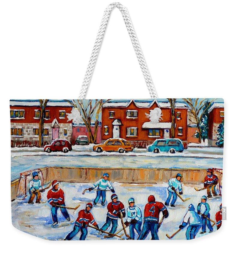 Hockey At Van Horne Montreal Weekender Tote Bag featuring the painting Hockey Rink At Van Horne Montreal by Carole Spandau