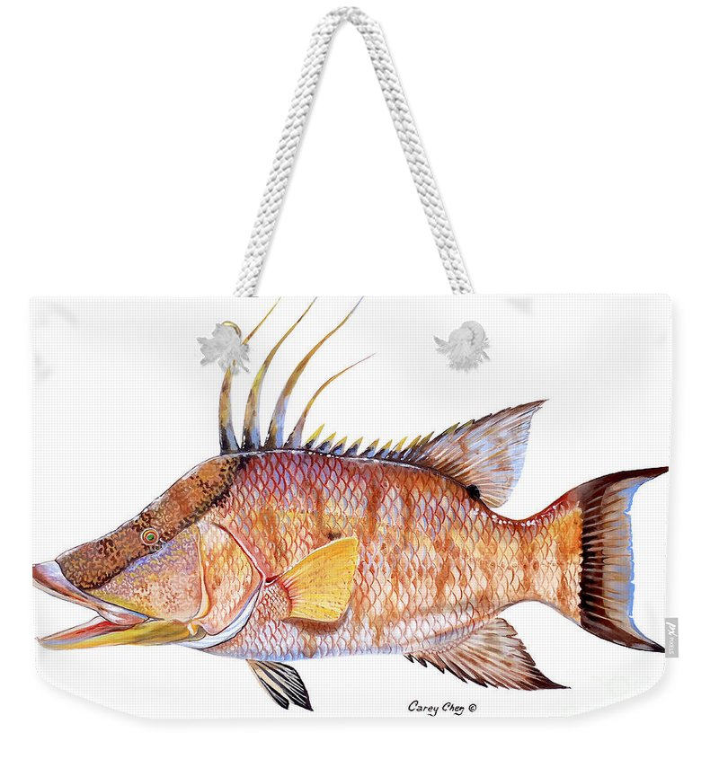 Hogfish Weekender Tote Bag featuring the painting Hog Fish by Carey Chen
