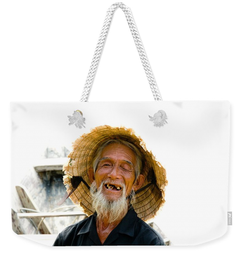 Close-up. Unesco Weekender Tote Bag featuring the photograph Hoi An Fisherman by David Smith