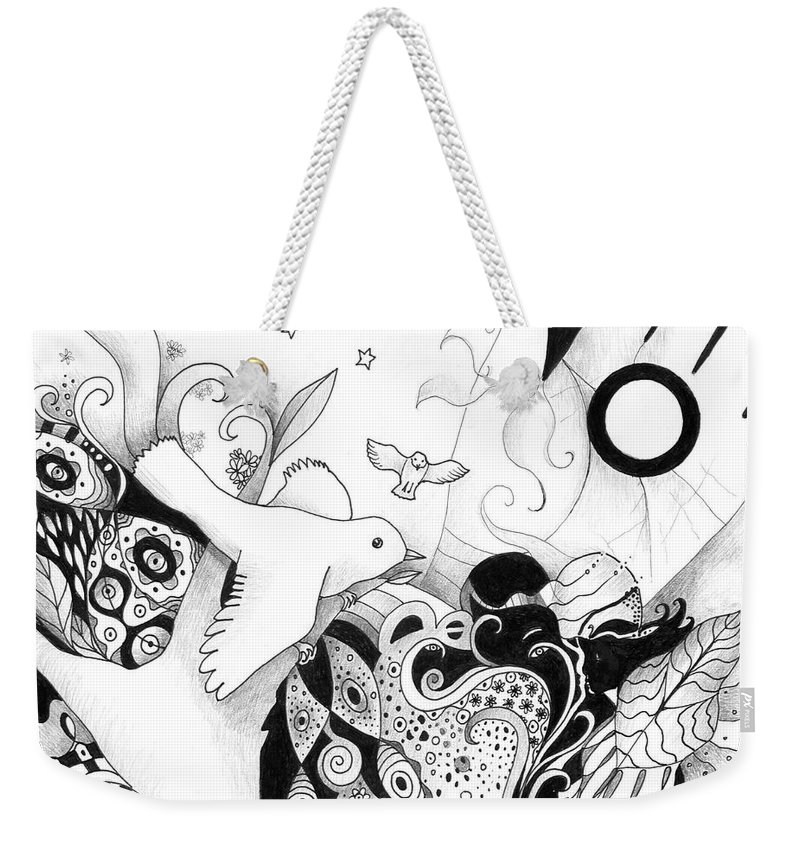 Figurative Weekender Tote Bag featuring the drawing Holding It In Your Hands by Helena Tiainen