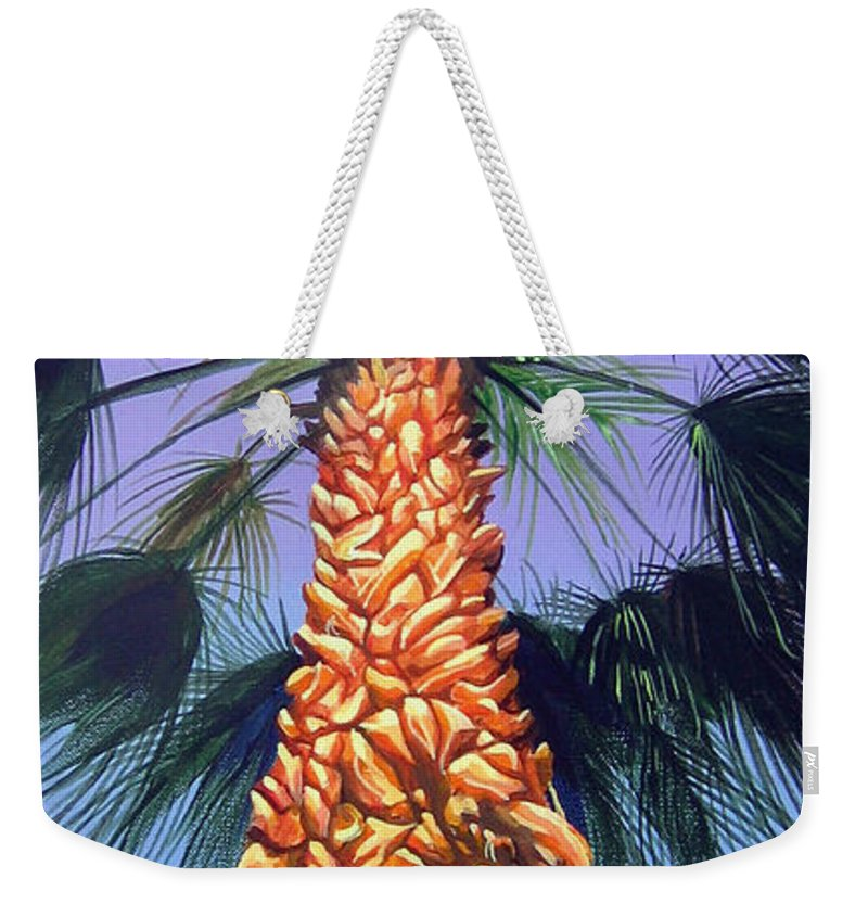 Palm Tree In Palm Springs California Weekender Tote Bag featuring the painting Holding onto the Earth by Hunter Jay