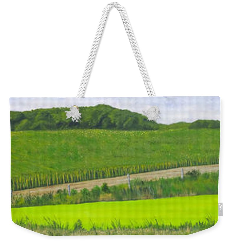 Panorama Weekender Tote Bag featuring the painting Holding Promise by Garry McMichael
