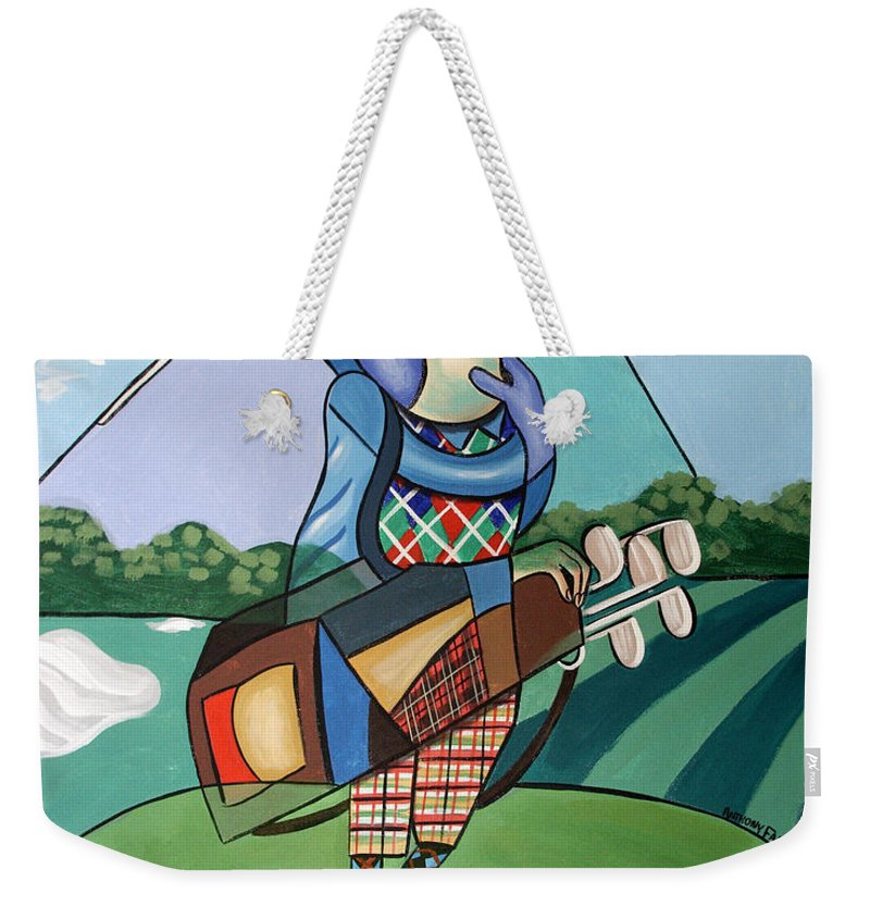 Hole In One Weekender Tote Bag featuring the painting Hole In One by Anthony Falbo