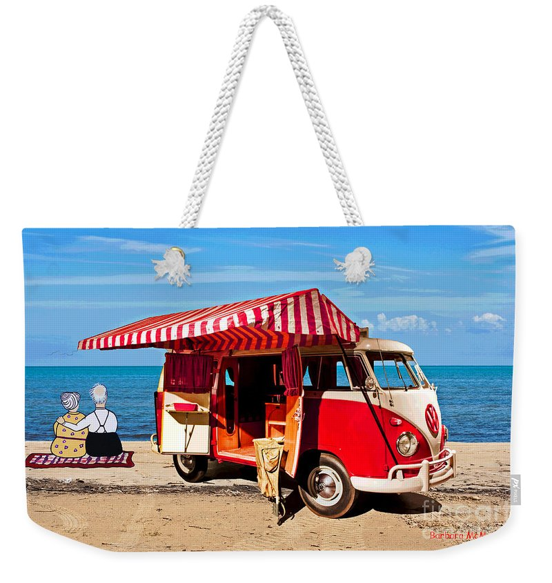 Volkswagen Weekender Tote Bag featuring the painting Holiday By The Seaside by Barbara McMahon