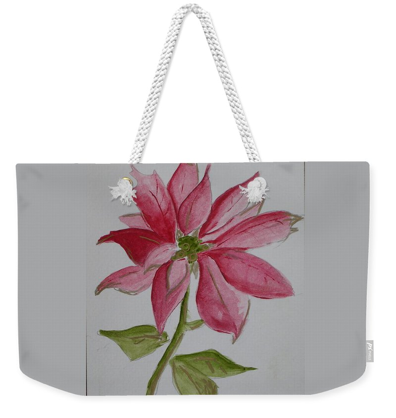 Flower Christmas Weekender Tote Bag featuring the painting Holiday Flower by Patricia Caldwell