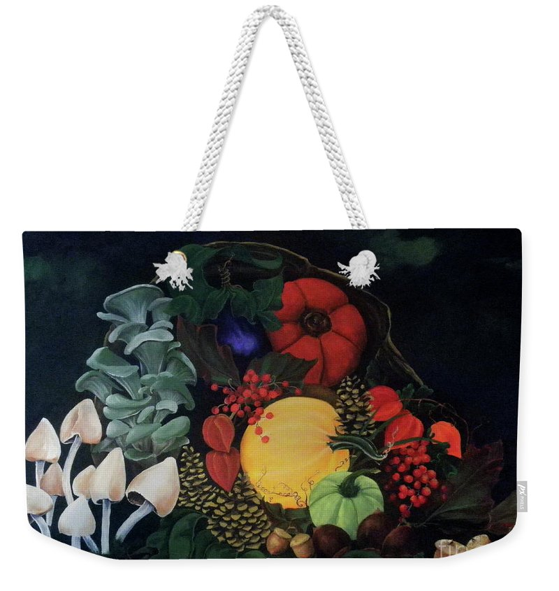 Dlgerring Weekender Tote Bag featuring the painting Holiday Harvest by D L Gerring